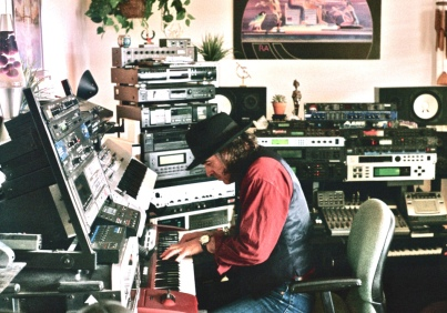 Jefferson Starship/Rod Stewart keyboardist Pete Sears at the studio recording tracks for Indigo Moon.
